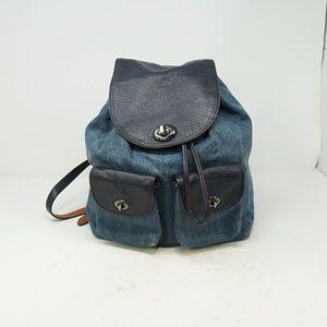 Coach Denim Colorblock Turnlock Rucksack Backpack